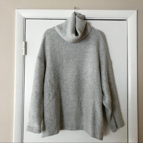 ZARA Oversized Turtleneck Sweater (Gray)
